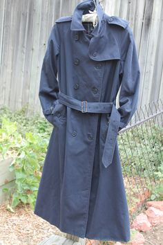 vtg burberrys' prorsum navy blue womens trench coat by Taite, $65.00