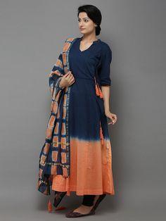 Blue Orange Cotton Angrakha Kurti with Dupatta - Set of 2