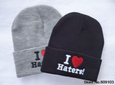 I love haters Beanie Hats men's wool hat sports Skullies Knitted Warm Caps For Man Women Fashion Caps $9.99