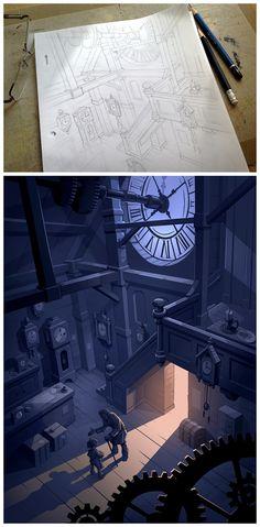 Pencil Sketch to Digital Illustration