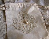 Embellished muslin bag, $9.00