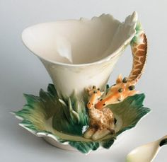 Franz Giraffe Cup & Saucer. They make the best porcelain products ever!! Of course this is their bed design