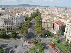 View of La Rambla from the Mirador de Colon - Barcelona, Spain