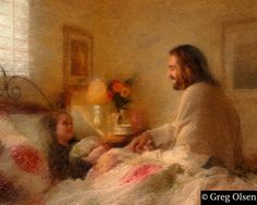 Painting of Jesus Christ visiting an ill child by Greg Olsen. Jesus visited my son when he was 3 years old. A beautiful story. Lds Art, Bible Art, Greg Olsen Art, Arte Lds, Munier, Jesus Painting, Painting Art, Jesus Christus, Jesus Pictures