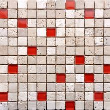 Beige Travertine & Red Glass Mosaic Mosaics Mosaic Tile Sheets, Glass Mosaic Tiles, Wall Tiles, White Bathroom Tiles, Kitchen Tiles, Beautiful Interior Design, Travertine, Red Glass, Color Inspiration