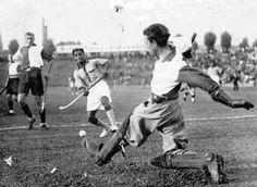 The 1932 winning Indian team plays a friendly against the Berlin Silberschild Eleven, in Berlin