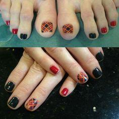 Festive plaid nail decal and manicure by Kariann! #nailart #fallnailcolor #gelishnails #pedicure #nailservice #prettynails #ellesalonltd #camphillpa #mechanicsburgpa #carlislepa #harrisburgpa #hersheypa @cosmoprofbeauty @modernsalon