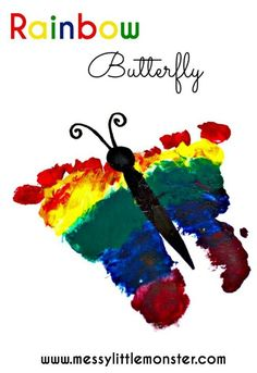 Rainbow footprint butterfly - A simple Spring craft or keepsake for babies, toddlers, preschoolers or even older kids. Perfect craft to accompany 'The hungry caterpillar' by Eric Carle. Butterfly Footprints, Butterfly Crafts, Butterfly Art, Rainbow Butterfly, Toddler Art Projects, Easy Art Projects, Toddler Crafts, Children Crafts, Spring Crafts For Kids