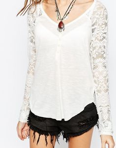 Image 3 ofDenim & Supply By Ralph Lauren Lace Back Henley Top