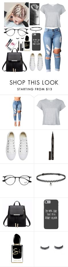 """""""Riding solo"""" by neathedesigner1 on Polyvore featuring RE/DONE, Converse, Smith & Cult, Ray-Ban, BERRICLE, Disney, Kylie Cosmetics, Giorgio Armani and Marc Jacobs"""