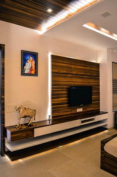 Interior For Mr. Shah: modern Bathroom by Maulik Vyas Architects Tv Cabinet Design, Tv Wall Design, Door Design, Lcd Unit Design, Lcd Panel Design, Lcd Units, Tv Unit Furniture, Modern Tv Wall Units, Living Room Tv Unit