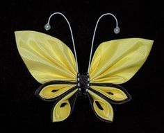 kanzashi ribbon butterfly for toddler girls , french barrete clip yellow and black