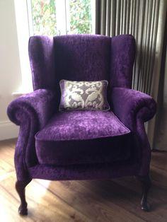 Purple bedroom chair purple velvet bedroom marvelous purple bedroom chair and best purple chair ideas on Purple Furniture, Funky Furniture, Painted Furniture, Purple Home, Purple Beach, Purple Headboard, Velvet Wingback Chair, Wingback Chairs