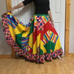 c04cbc2bb Plus Size Hippie Patchwork Skirt, Rainbow Full Maxi Skirt with Pockets,  Long Cotton Skirt