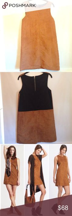 2x PM Editor PickSanctuary Village Shift Dress Like new. No visible flaws or defects. Super cute 70's inspired shift dress. Tan/brown feels like suede with cool black back detail with working zipper. Sleeveless with jewel neckline. Fully lined. Fits like an xs/small. Length- 32 inches. Size medium. Sanctuary Dresses Mini