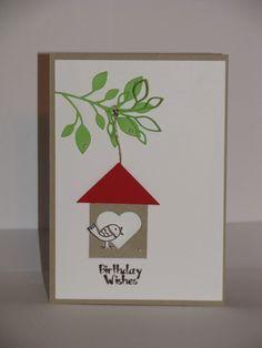 Geburtstagskarte, Stampin Up, Poppystamps Stanzform Blätter / Massa Leaf Background, Papier Flüster Weiß und Savanne