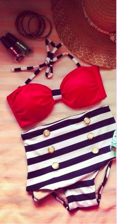 Red, White and Blue Vintage Inspired Bathing Suit #RedWhite