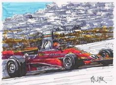 "Saatchi Art Artist Paul Guyer; Drawing, ""Niki Lauda, Ferrari, 1975"" #art"