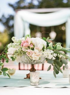pink + green compote centerpiece | Olivia Griffin