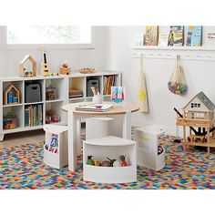 Shop Nesting White and Natural Play Table and Chairs Set. Recalling the brilliant functionality and minimal look of Scandinavian design, our Nesting Play Table and Chairs are modern playroom essentials. Kids Play Table, Kids Table And Chairs, Table And Chair Sets, Play Room For Kids, Kids Play Area, Modern Playroom, Playroom Design, Playroom Decor, Playroom Seating
