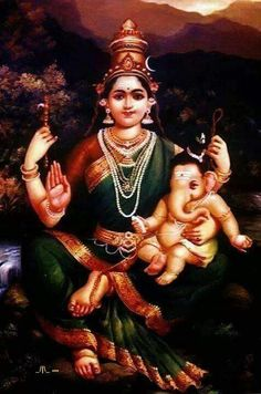 Baby Ganesh with his mother, Parvati
