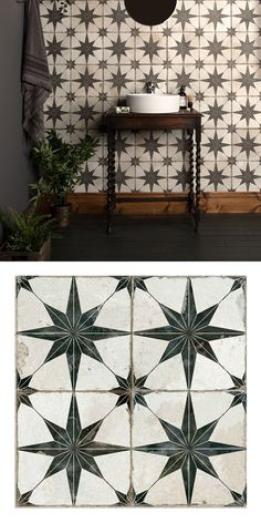 Create a statement floor in your bathroom, kitchen, hallway or lounge with these striking Scintilla Black Pattern Tiles. They have a vintage monochrom… – Flooring Designs Floor Patterns, Wall Patterns, Star Patterns, Black Tile Bathrooms, Black And White Tiles Bathroom, Black Grout, Black And White Stars, Black Star, Black And White Hallway