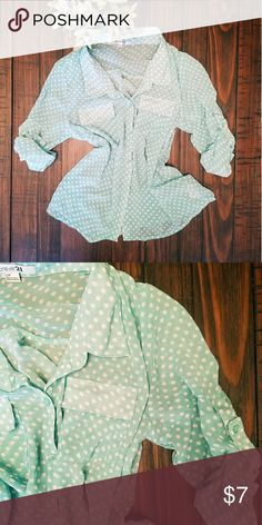 Mint green button down dress top with polka dots Such an adorable top! great for work.  Sheer material with rolled-up sleeves. Forever 21 Tops Button Down Shirts