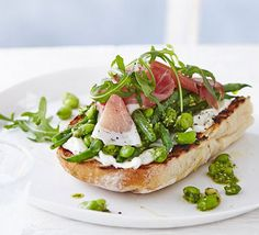 Summer beans on toast with prosciutto. This open, bruschetta-like sandwich can be thrown together in a flash for a quick supper, lunch, or dinner party starter