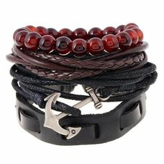 Cheap leather bracelet, Buy Quality leather bracelet wholesale directly from China wholesale leather bracelets Suppliers: /Set Fashion Trendy Punk Weave Wrap Strand Women anchor Genuine Leather Bracelets Men Cuff Jewelry Accessories Wholesale Bracelets Fins, Woven Bracelets, Bracelets For Men, Fashion Bracelets, Leather Bracelets, Anchor Bracelets, Charm Bracelets, Fashion Jewelry, Stylish Jewelry