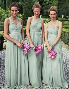 Find More Bridesmaid Dresses Information about Vestido Dama De Honor New Three Styles A Line Simple Elegant Mint Green Bridesmaid Dresses Long Chiffon Bridesmaid Dresses,High Quality dress long sleeve tunic dress,China dress cheongsam Suppliers, Cheap dress ol from Sunflower Bridal on Aliexpress.com