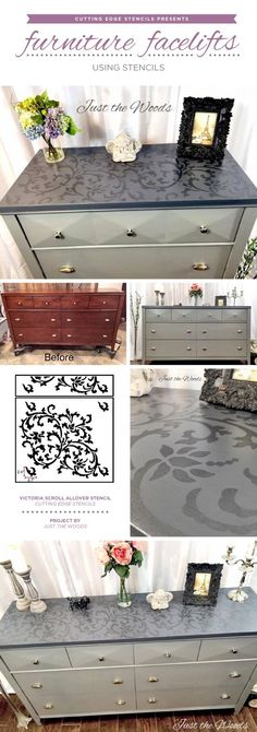 Cutting Edge Stencils shares how to easily makeover old furniture using paint and the Victoria Scroll Stencil. http://www.cuttingedgestencils.com/victoria-scroll-wall-pattern-stencil-diy-wall-decor.html