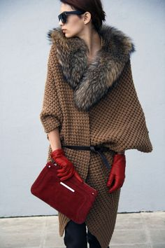 fur sweater coat  burgundy camel