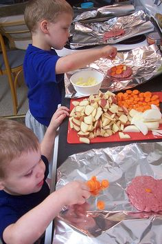 2 weeks of camping with kids: put out ingredients and let them make their own tinfoil wrapped meal