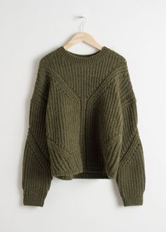 Front image of Stories oversized curved knit sweater in green Cropped  Cardigan f9bbcae4b