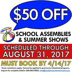 For innovative School Assembly Programs, browse the site of Academic Entertainment. We provide variety of new and interesting School Assembly Programs at great deals. August 31, Schedule, Friday, How To Apply, Entertainment, School, Summer, Books, Timeline