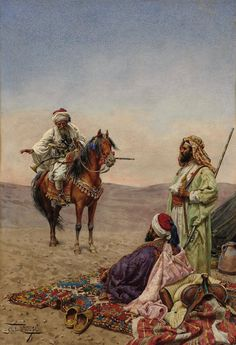 A traveler on horseback stops at a desert camp mid 1800s.  Art Giulio Rosati.