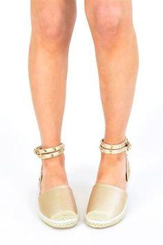 78e9ad075b4 ELA Studded Espadrille Sandals - Gold - AJ Voyage Tie Up Sandals