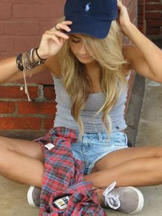 baseball hat, jean shorts, tank, plaid, keds