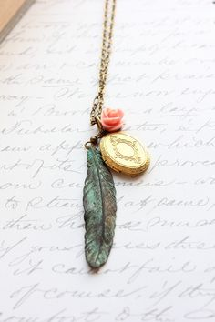 Locket Necklace Feather Pendant Green Verdigris by apocketofposies