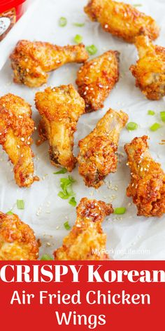 This Crispy Korean Air Fried Chicken Wings recipe is delicious sweet sticky and a little bit spicy. The Air fryer provides the perfect crunch to these wings without all the added fat from deep frying. - Deep Fryer - Ideas of Deep Fryer Air Fried Chicken Wings Recipe, Korean Chicken Wings, Air Fry Chicken Wings, Cooking Chicken Wings, Chicken Wing Recipes, Korean Fried Chicken, Chinese Fried Chicken Wings, Nuwave Chicken, Crispy Fried Chicken Wings