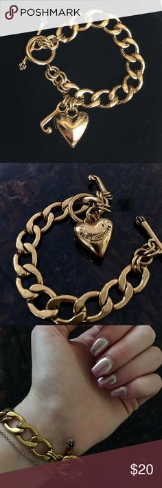 Juicy Couture Heart Charm Bracelet CHRISTMAS SPECIAL!! Arm candy that's sophisticated and classy is the easiest way to an everyday glam look. No matter what you're wearing, a t-shirt and jeans ensemble or a simple LBD, the Banner Heart Charm Bracelet with embossed heart and gem encrusted sceptre will be your go-to accessory! Offers welcomed. Juicy Couture Accessories