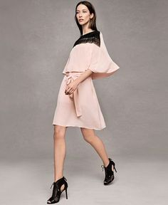 YYIGAL Lace-Yoke Capelet Dress in blush pink - TAKE 30% OFF WITH CODE 'VIP'