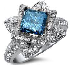 2.01ct Blue Princess Cut Diamond Lotus Flower Engagement Ring 14k White Gold