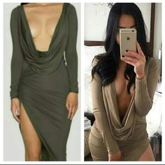 Scoop front dress Gray scoop front dress. Gorge. Side rouching and slit add dimension to this stunning style. Size S but fits like a S/Medium. Designed best for someone built small on top and heavier on the bottom. Beautiful dress. New Dresses