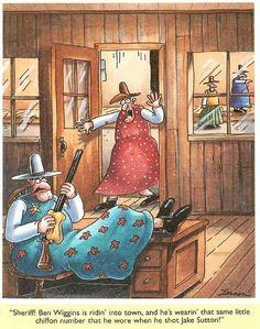 """The Far Side"" by Gary Larson Cartoon Jokes, Funny Cartoons, Funny Comics, Far Side Cartoons, Far Side Comics, Cowboy Humor, Gary Larson Far Side, Gary Larson Cartoons, Classroom Humor"