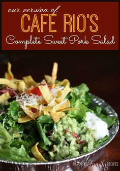 This is the perfect copy cat recipe for the famous Cafe Rio Pork Salad. You will barely be able to tell the difference! A lot of it can be made in a slow cooker.