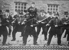 Officers from the Bristol City Police practising their cutlass drill in the mid 1870's.