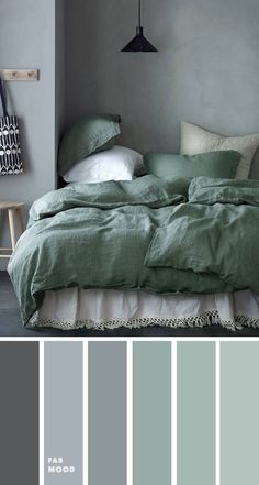 Grey green bedroom color palette - - Bedroom color scheme ideas will help you to add harmonious shades to your home which give variety and feelings of calm. From beautiful wall colors. Grey Green Bedrooms, Green Bedroom Colors, Grey Colour Scheme Bedroom, Grey Palette, Calming Bedroom Colors, Sage Green Bedroom, Grey Room, Grey Color Palettes, Grey Color Schemes