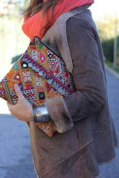 Boho for mornings: coat, scarf, stunning clutch, silver cuff.