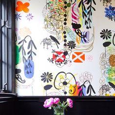 NAMA ROCOCO wallpaper French Dot installation -designer Abby Wolf Weiss